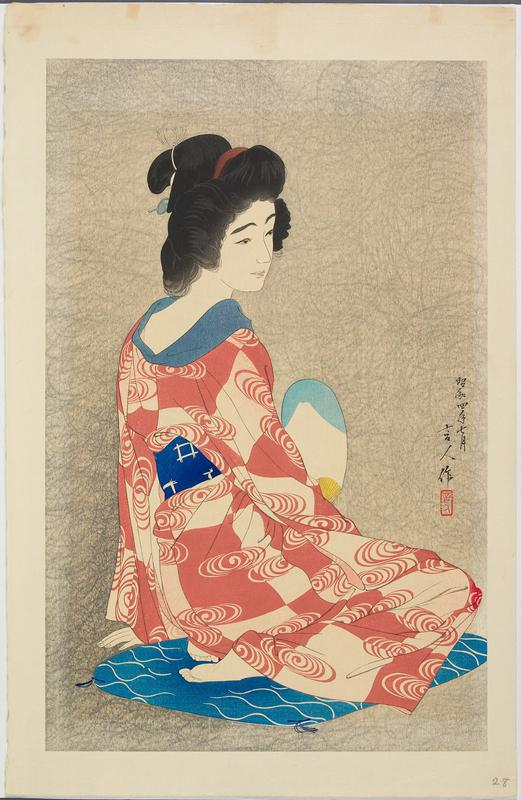 woman seated on a blue and white cushion; woman wears a dark pink and white patterned garment and blue and white belt, holding a blue and white fan