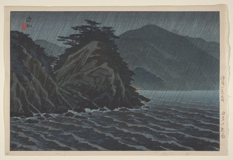 landscape; rain falling on choppy water; dark trees and mountains in background