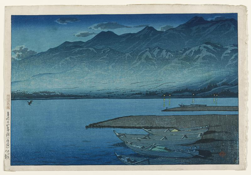 landscape; 6 rowboats on shore at R; flying bird at L edge; tall mountains in background; light in 5 windows at R; dark blues