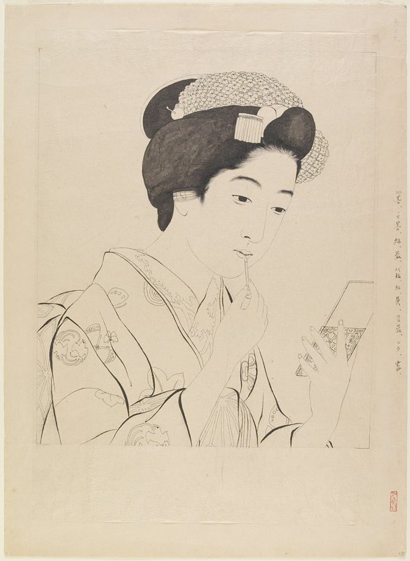 unsigned; keyblock impression for print (L2001.372.44); woman in kimono with butterflies, applying pigment to her lips with a small brush; woman holds a rectangular mirror in her PL hand; thin, vellum-like sheet adheared to thicker sheet