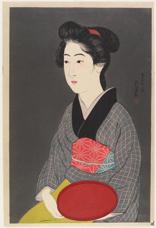 head and torso of seated woman wearing a grey and pink checked kimono and red, blue and white obi, holding a round red tray on her lap; shiny grey ground