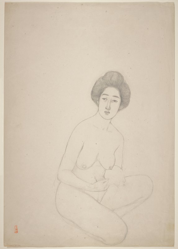 unsigned; one side: crouching nude from front; opposite side: crouching nude from back