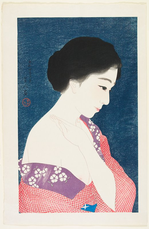 woman in profile from R, with red and white kimono with purple, white and green floral collar, pushed down over PR shoulder and PL hand on PR shoulder; dark blue ground