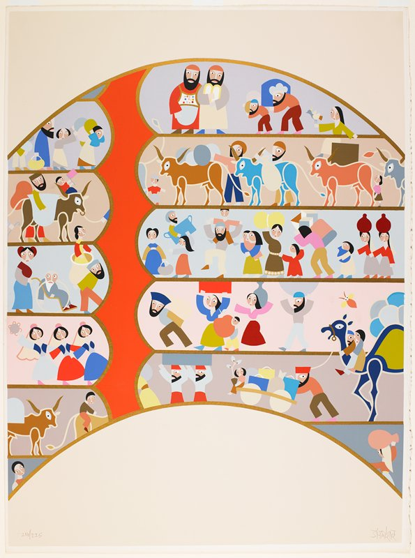 stylized figures; flat bright color planes; decorative patterns; horizontal rows of people with oxen and a camel, carrying bundles