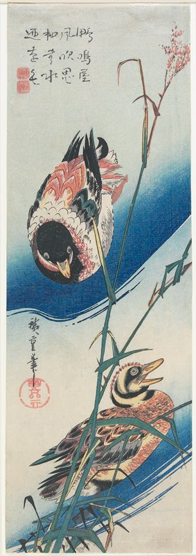 歌川広重『芦に鴨』