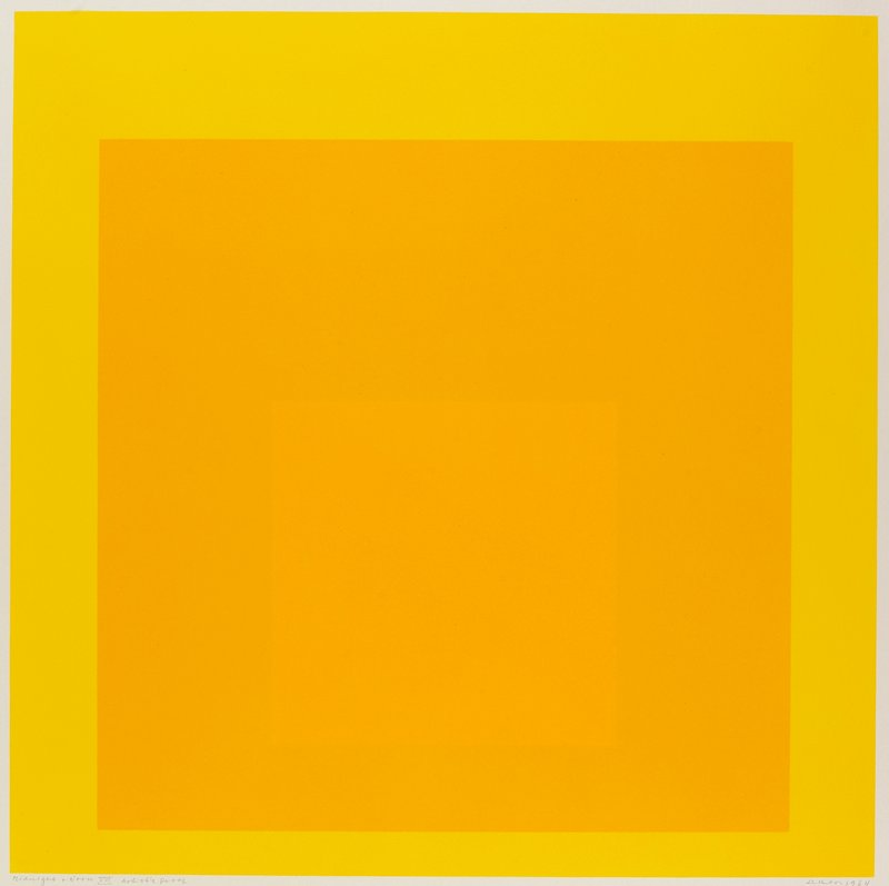 3 yellow squares on top of each other; framed in plexiglass