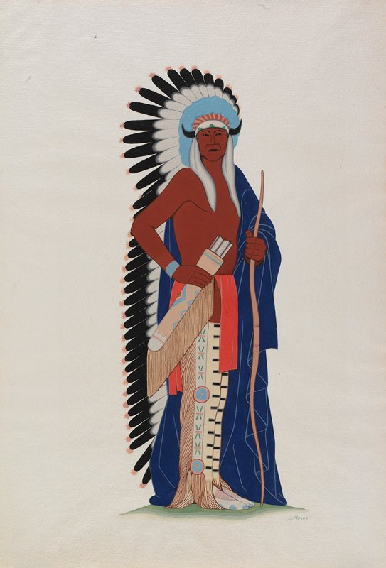 standing Native American man wearing feather headdress, blue robe and tan leggings with green, pink and blue designs