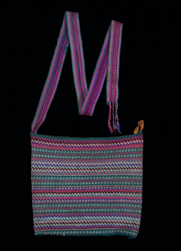 Crocheted bag in pink, blue, green, black and white
