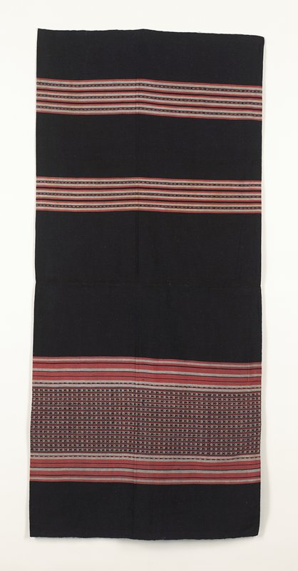 """Tightly woven tube skirt with seam; color is navy with 3 bands of stripe and pattern in off-white and pink; one band is 14: wide and the others are 3.5""""."""