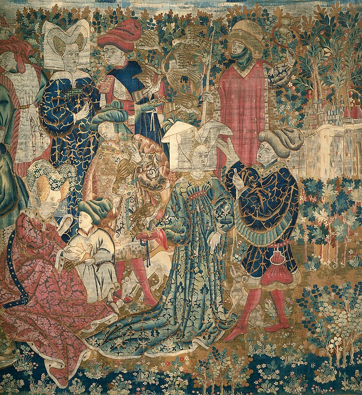 tapestry; warp undyed wool, 5-6½ ends per cm.; weft dyed wool, 22-26 ends per cm.; tapestry has been cut, and was originally any where from a yard or two wider to over three times its present width