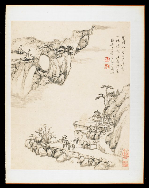2 figures on horseback accompanied by 2 other figures, bottom center; 2 figures, ULC; sparse rocky landscape with trees and buildings; from an album of 12 drawings in ink and wash; short inscription and stamps in red