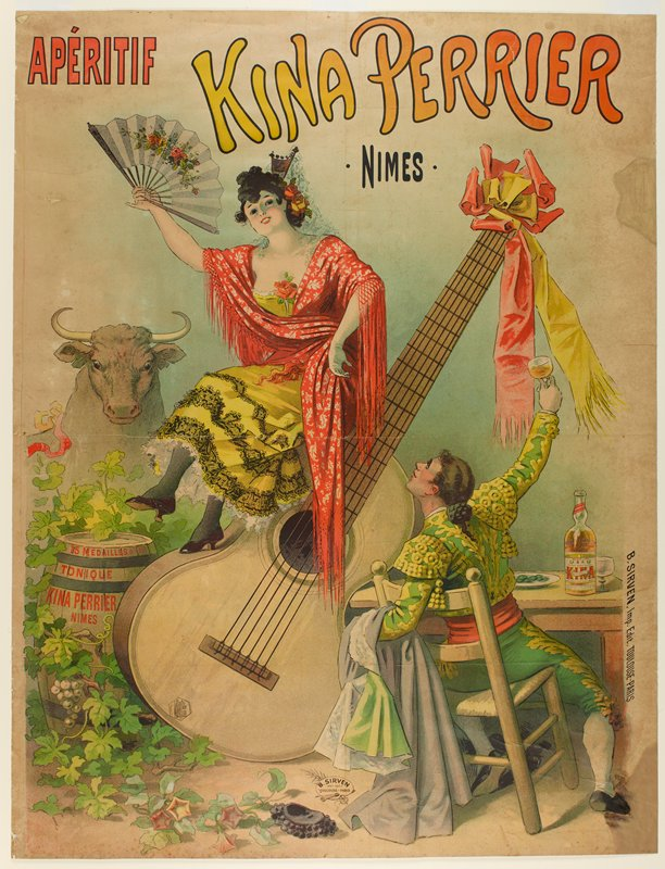 Kina Perrier is an aperitif, served before meals to stimulate the appetite. This poster features a Spanish dancer and a matador, who have just sat down for a drink while the bull looks on from the background.