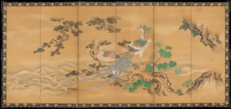 two phoenixes at center, perched on a gnarled tree branch; waves at L; greens, blues, pink and white; seal and inscription, LRC