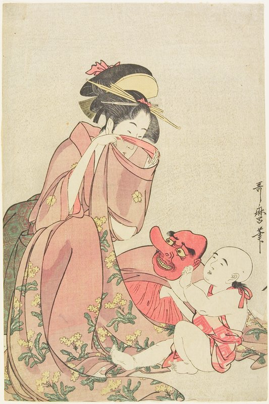 喜多川歌麿『娘と子ども』