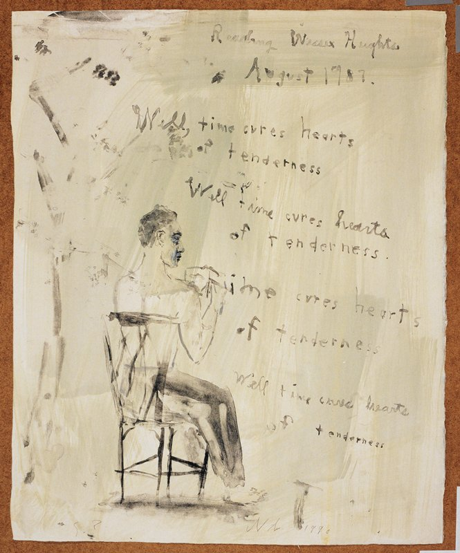 """Man seated in a chair with his back to the viewer; he reads from a paper in his lap; citations from the poem 'Wessex Heights' are displayed in front of him like a muse or thought bubble; the words """"Reading Wessex Heights/August 1987"""" inscribed, UC; light green background"""