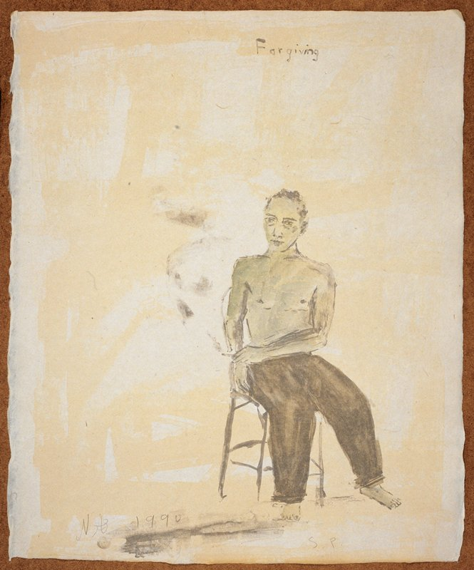 """Full length view of a man naked from the waist up; he faces forward in a chair with a lit cigarette in his PL hand; legs turned slightly PL; the words """"Forgiving"""" inscribed, UC; predominant colors: blue, grey and yellow"""