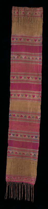 Ochre, pink, purple striped with section with diamond motifs.