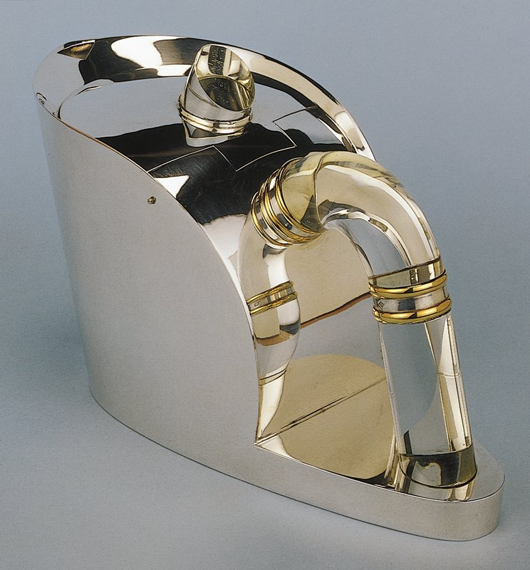 Silver-gilt with rock crystal handle and lid knob; two vermeil rings