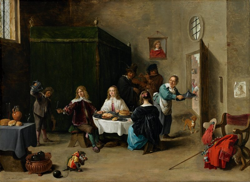 New Testament parable (Luke 15:11-32): A lively scene showing the Prodigal Son at supper with courtesans at an inn, accompanied by servants and musicians. The room, whose light source comes from a high leaded window on the left, is filled with many still-life details and rich symbolism. In the far left corner is a four-postered bed completely enclosed by velvet drapery. On the opposite side of the room through the open doorway, a thief is being chased by an angry woman, while another figure in a second-story window empties a chamber pot onto his head. Just inside the doorway, hanging on the wall, is a wooden board used for recording the guest's food and wine bill. Having placed his red velvet cloak, plumed cavalier's hat, fur piece and sword on a nearby chair, the Son sits at the round dining table and holds out his glass for a serving boy to fill. On the right, a serving woman carrying a covered pewter platter exchanges a word with the woman whose back is toward us, while a small dog wags his tail in anticipation of receiving the table scraps. A fiddler and a flutist stand behind the table, merrily playing their instruments. On another cloth-covered table in the left foreground are a pitcher, two glasses, and several loaves of crusty bread. On the floor below is a copper wine cooler containing several bottles of wine. Nearby, a monkey, dressed in a striped coat and wearing a ball and chain, munches on an apple.