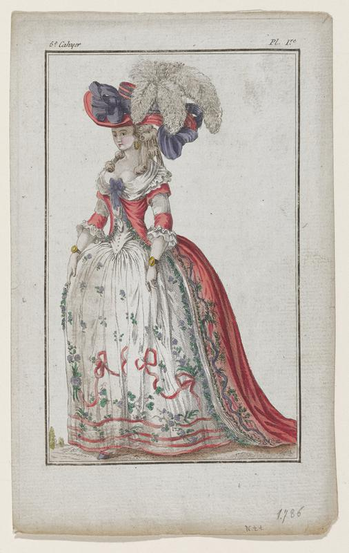 Woman in white gown decorated with purple flowers and pink ribbon with pink overgown and a pink hat with purple bows and white plumes