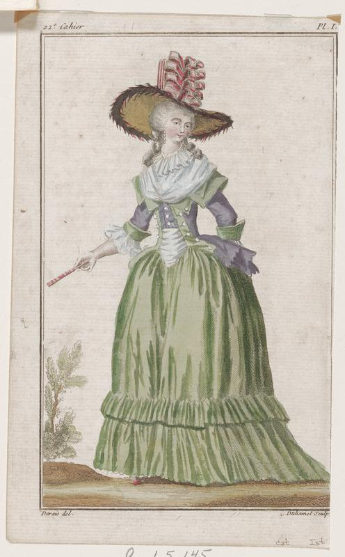 Woman in green and purple gown with a hat with pink bows