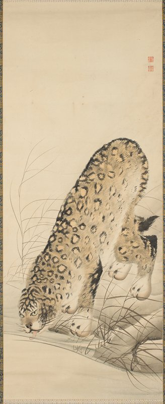 leopard leaning down to drink from stream; blue and gold floral brocade border