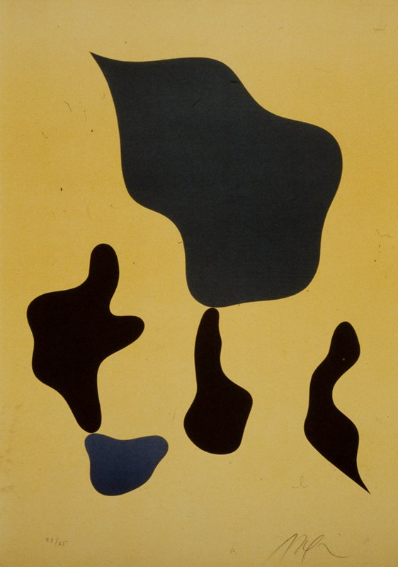 abstract compostion with five biomorphic forms printed in gray, black,and blue on an ochre-yellow ground