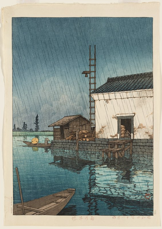 two boat houses with prow of boat at LLC; man in boat at L middle ground; raining