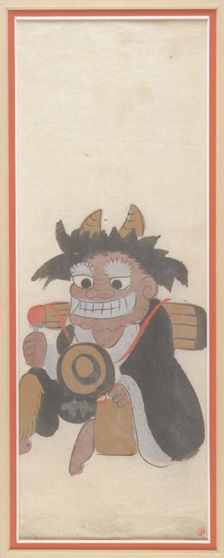 Seated horned demon with wild black hair and toothy grin holding a tan and black ball in his lap; parcel in PL hand and tube-shaped parcel on his back