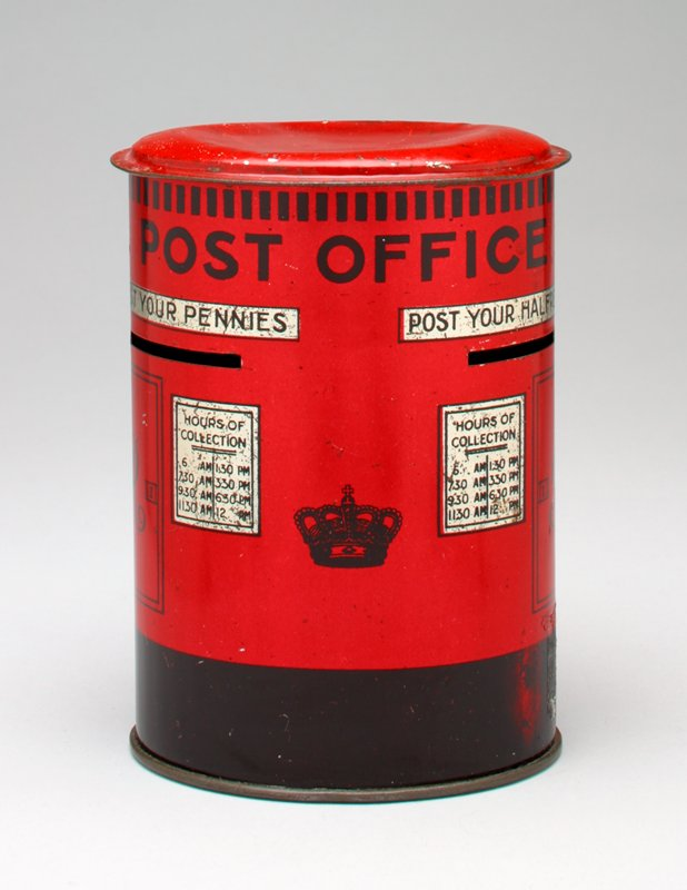 "ovoid shape; printed in red and black on silver; ""POST OFFICE"" at top"