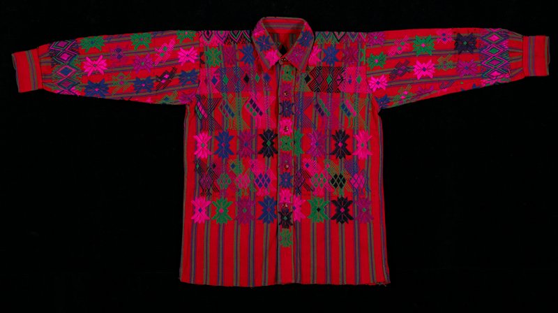 One panel cotton shirt; silk and cotton brocade; background red with narrow stripes in green, purple; 5 buttons