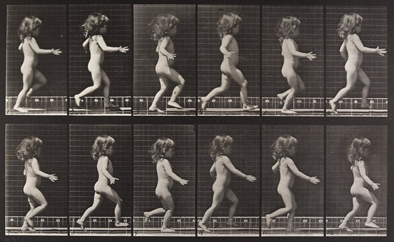 Child, running. From a portfolio of 83 collotypes, 1887, by Edweard Muybridge; part of 781 plates published under the auspices of the University of Pennsylvania