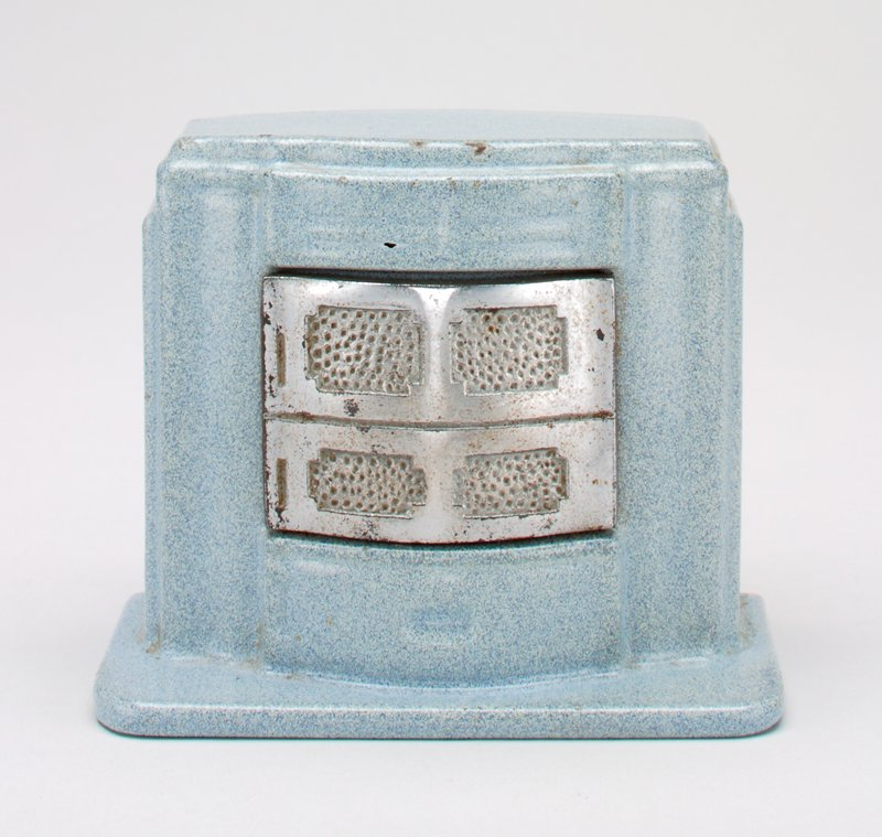 speckled robin's egg blue enameled furnace with metal grill