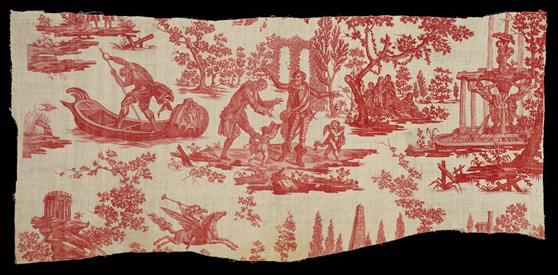 """Toile, fragments, """"Le Triomphe de Voltaire"""" design, printed in rose. In the center, Voltaire is crowned with laurel by Henri IV in armor, a reference to Voltaire's epic poem, the Henriade, widely acclaimed in France (published in London, 1728). To the left, an old man poles a boat; at right, a group of spectators under a tree and beyond, a baroque fountain, towers, arbors, amorini, and a mounted herald."""