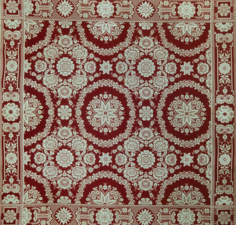 red and white jacquard coverlet, wool, American