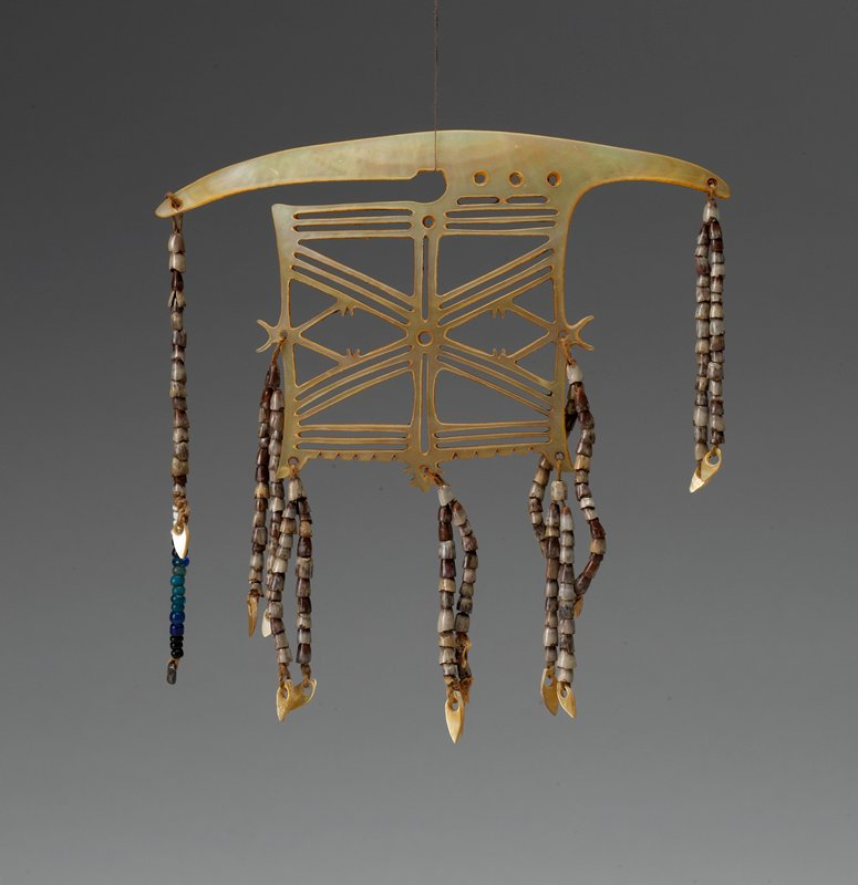 shell body with geometric openwork design; six pairs and one individual strand of shell beads and glass beads in brown, iridescent cream, blue and white
