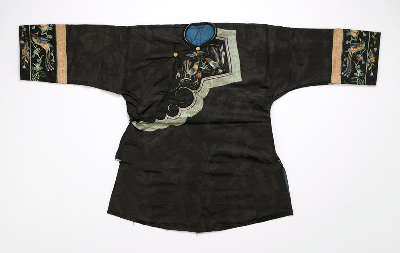 curved hem; black silk body; cuffs and chest have embroidered bird, flower and insect designs; ribbon trim; gold buttons; blue lining