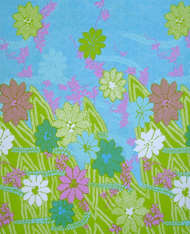 Knit border print;larger stylized flowers. Heavier along bottom edge. Knit Border Print.Large sylized flowers, heavier along bottom edge. (green/turquoise)
