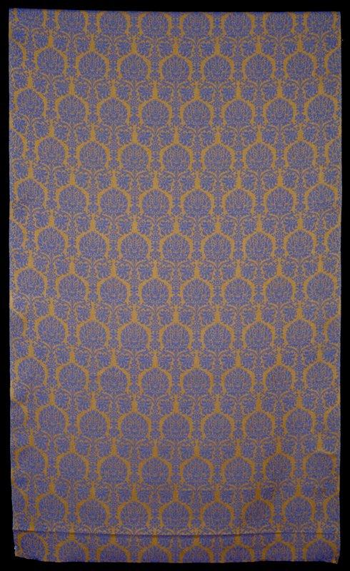 Description Heavy line linen Jacquard Damask, artichoke-crown design, 14 inch pattern repeat Heavy line linen Jacquard Damask, Blue artichoke-crown design, 14 inch pattern repeat (tile with bronze)