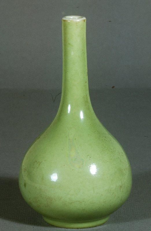 Bottle, long-necked, pea green