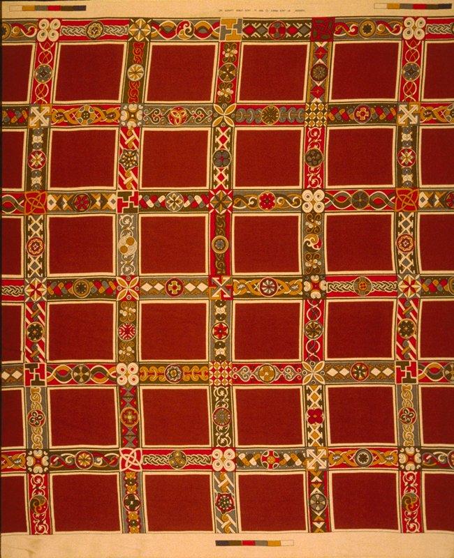 "Worsted satin print. Stacked 6"" x 5"" squares framed in 2.5"" border designs. 34"" vert. Rpt. Dk. red/orange, red, bronze & gold. Cayenne"
