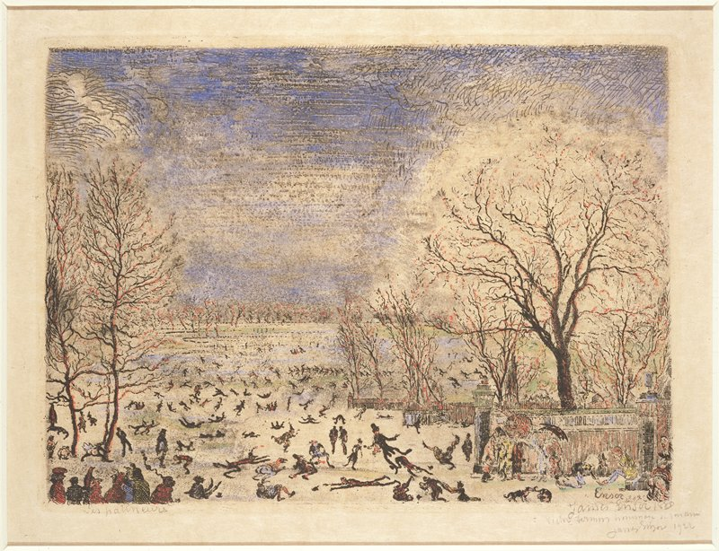 Winter landscape with ice skaters and other figures