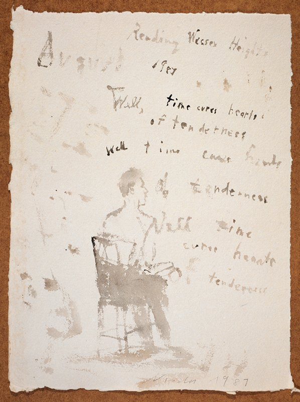"""Man seated in a chair with his back to the viewer; he reads from a paper in his lap; the words """"Reading Wessex Heights/August 1987..."""" scrawled in UR quadrant, followed by a citation from the poem (Wessex Heights, 1896)"""