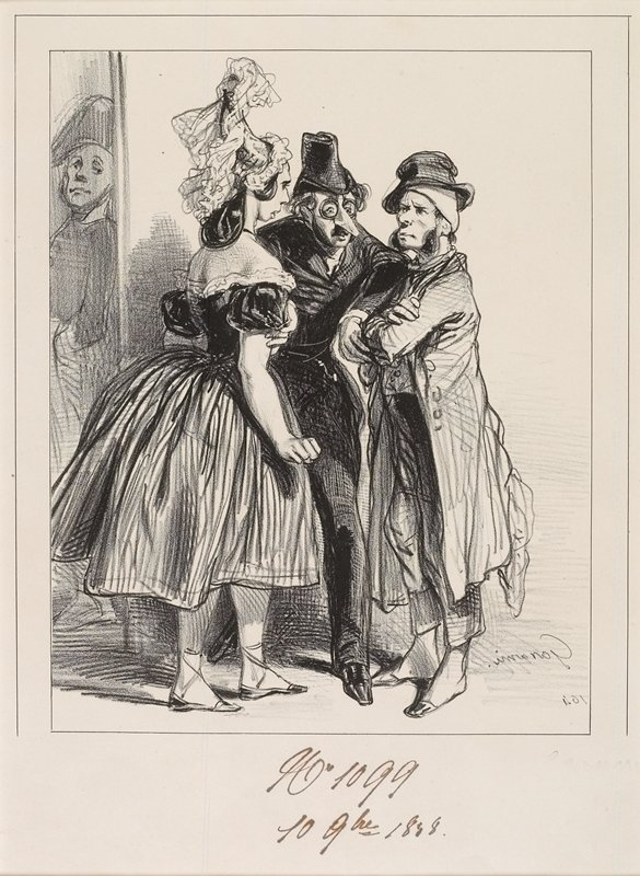 man in dark garments and round glasses with large (false?) nose, separating a short man in a large overcoat with arms crossed and a woman in a gown and slippers with clenched fist