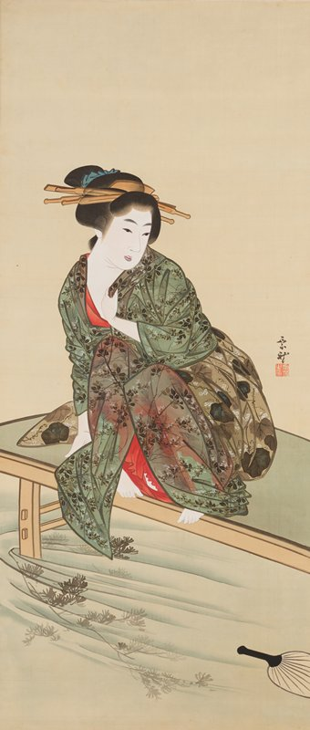woman crouching on a platform over water; woman wears green transparent leaf-printed garment over red undergarment; fan floating on water, LRC