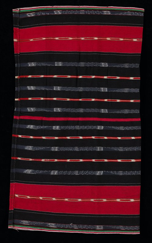 tube skirt; black with blue, red, white, green and yellow stripe designs of various sorts