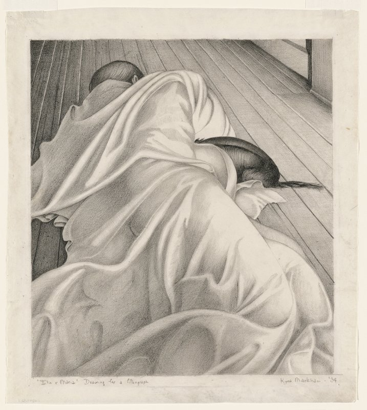 figure wrapped in a white sheet, lying on a wood floor; back, backside and tail of a small dog visible, with front end nestled under figure's arm