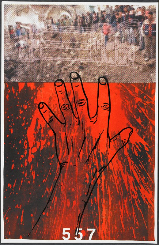 """pixilated image of people lined at top of a slope, at top; grey linear image of bundle of dynamite sticks over first image; linear drawing of a hand with outstretched fingers in black over splotches of red and black at bottom; """"557"""" in white at bottom center"""