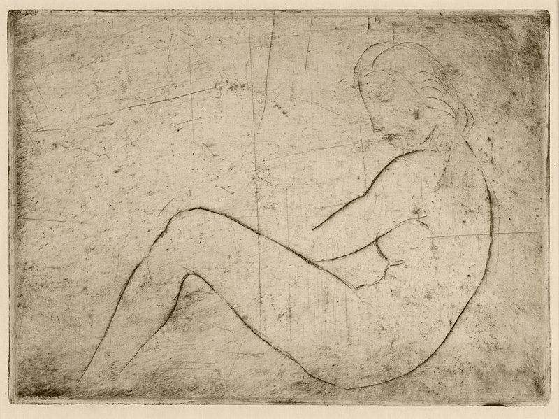 linerally rendered seated nude female with unfinished hands and feet