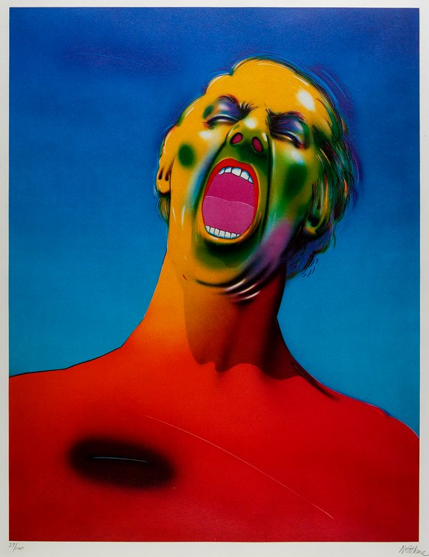 head and torso of a yelling man with open mouth and closed eyes; red, yellow and green skin; pink inside mouth; blue background
